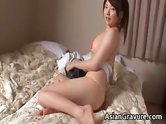 Cute japanese chick stripping and posing