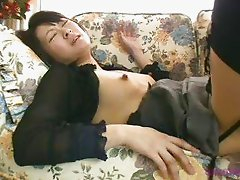 Hot Japanese wife squirting on the sofa