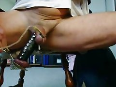 daddy electro-stimulation producing a big cum load