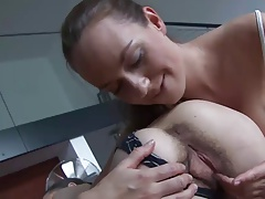 2 really hairy lesbians kiss each others pussys & asses